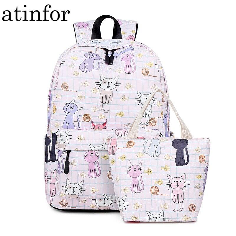 Atinfor Brand Waterproof Women Backpack Cute Cat Printing Daily Travel Knapsack Girls Book Bag For Lunch Tote Bag