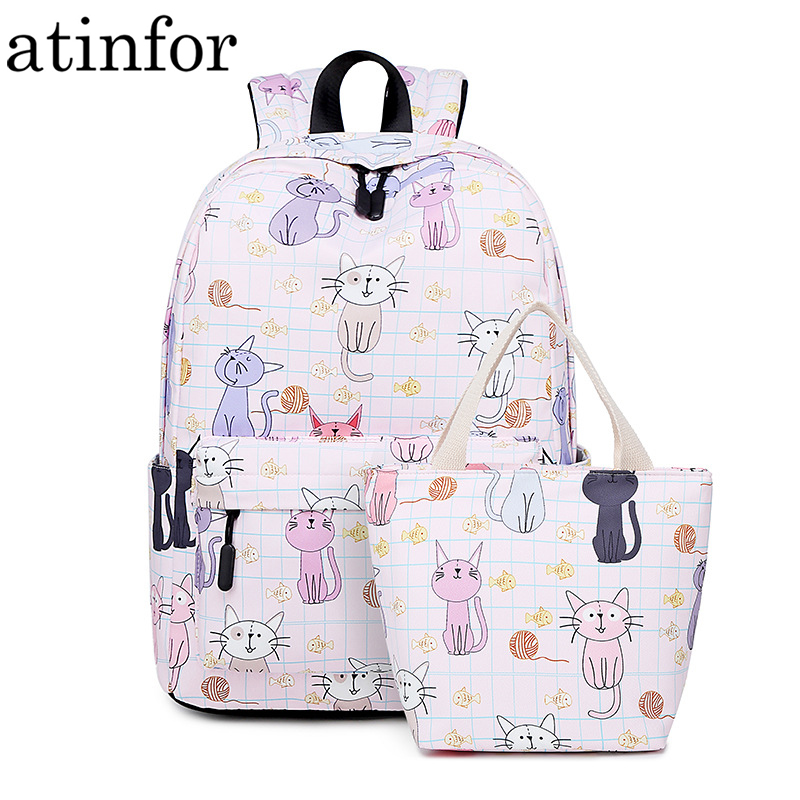 atinfor Brand Waterproof Women Backpack Cute Cat Printing Daily Travel Knapsack Girls Book Bag for Lunch Tote Bag