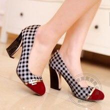 2015 italienischen Schuh-Und Taschensatz Für Party In Frauen Gingham Plain Prom Kleider Houndstooth Cap Toe Pailletten Große Größe Frauen Schuhe