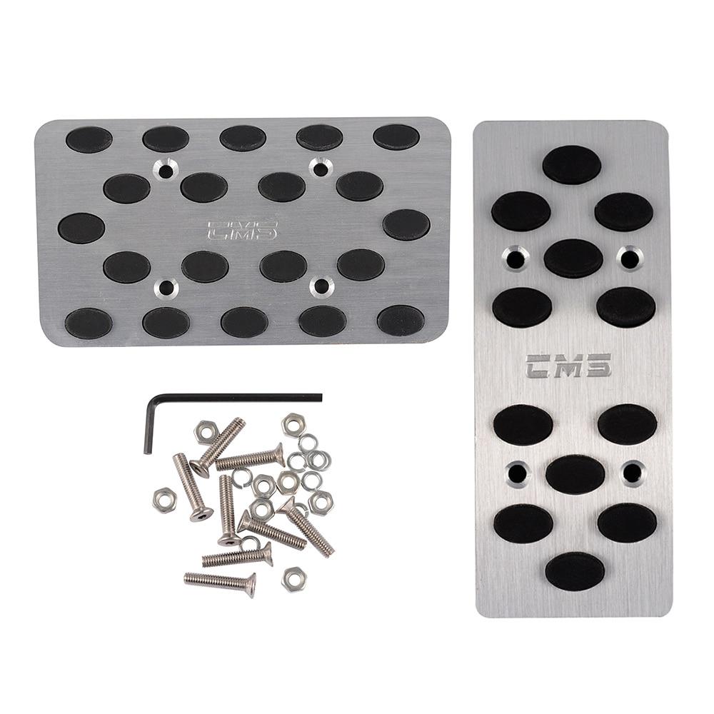 Car Automatic Non-slip Gas Brake Metal Pedal Covers Silver Tone Black 2 Pcs