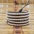 2016 New arrival Exquisite Quality pearl  Beads Leather 5X Wraps Bracelets&bangles for men and women JBN-1614
