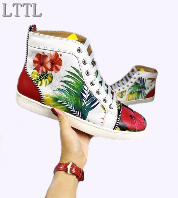 New Fashion Style Leather Printing Men Shoes Casual LTTL Espadrilles Platform Men