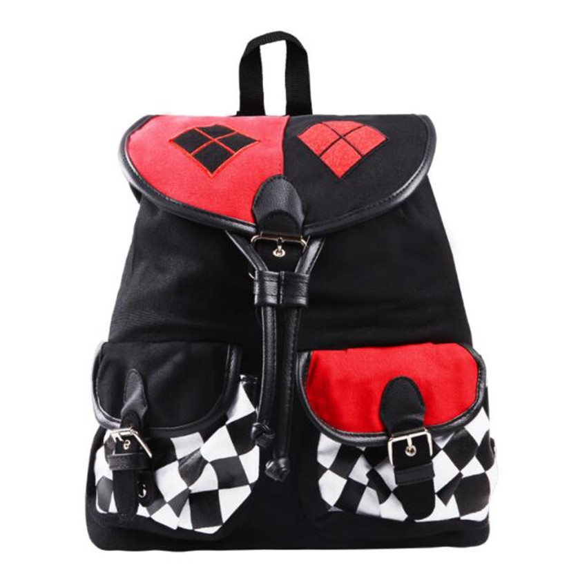 DC Movie Suicide Squad Cosplay Props Harley Quinn Schoolbag Drawstring Cos Oxford Cloth Backpack