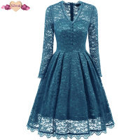 New Retro Rockabilly Evening Party Dress Women Summer Vintage Lace Dress Double Layer V Neck Button