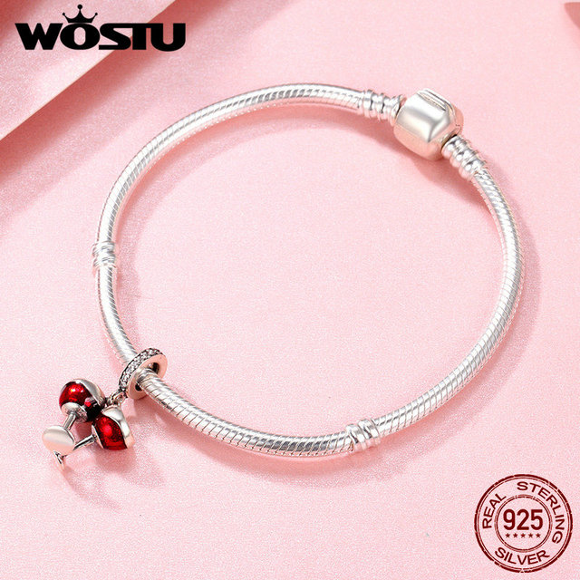 WOSTU Real 925 Sterling Silver Cheers for Love Couple Beer Pendant Charm Fit DIY Bracelet Jewelry Valentine Day Gift CQC478