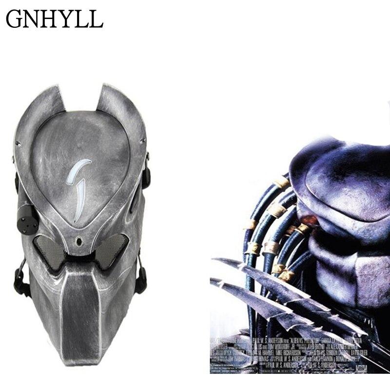 GNHYLL Alien Vs prédateur solitaire loup masque avec lampe extérieur Wargame masque tactique visage complet CS masque Halloween fête Cosplay masque