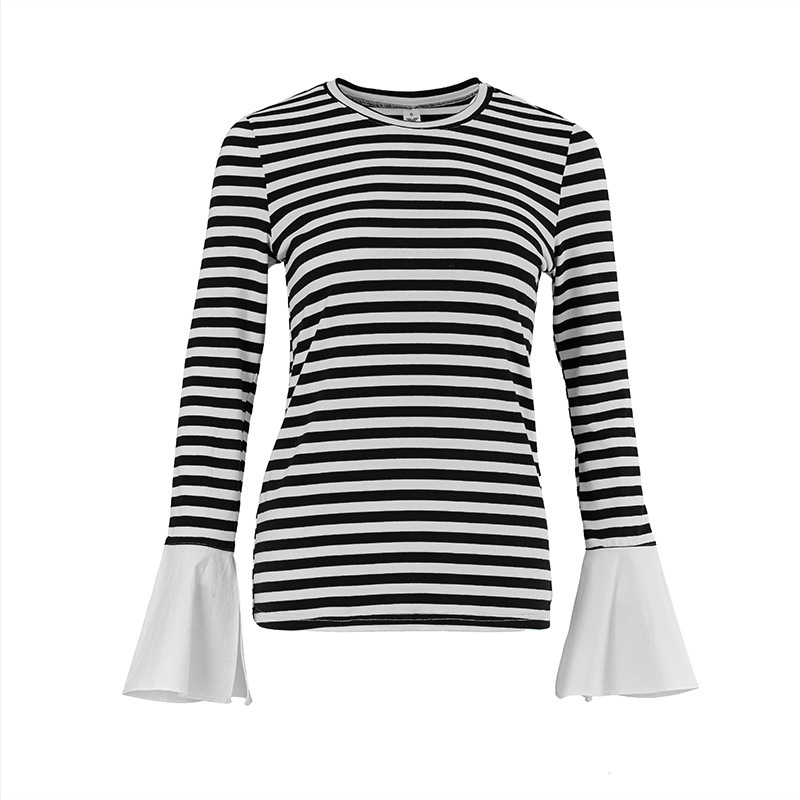 long-sleeved woman t shirts striped round neck spring and autumn everyday wear special design slim fit s m l best seller party