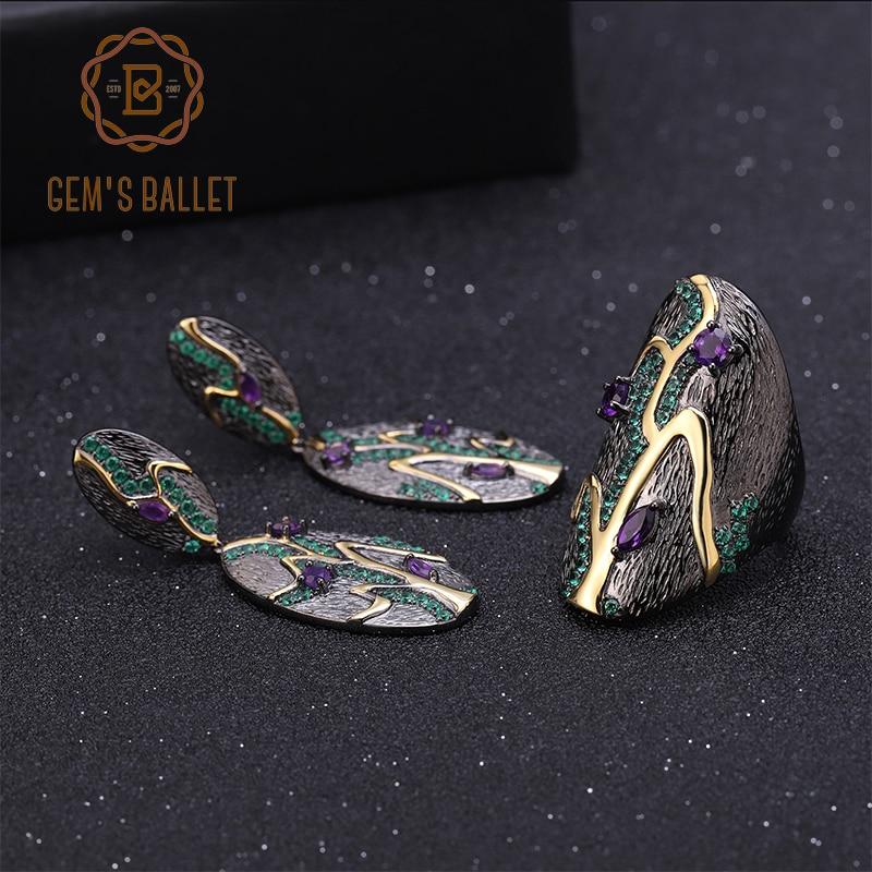 GEM S BALLET Georgia O keeffe Natural Amethyst Jewelry 925 Sterling Silver Handmade Vintage Ring Earrings