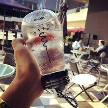 2017 Venta Caliente Bombilla Botella de Botella De Vidrio Con Tapa Lindo Creativo de la Historieta Tazas de Leche Té Café Tazas Para Ir de Excursión/escalada/Touring