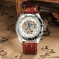 Goer Бренды мужской машины наручные часы натуральная кожа автоматический водонепроницаемый мужчина наручные часы Серебристые пустотелый человек досуг машины наручные часы цифровой