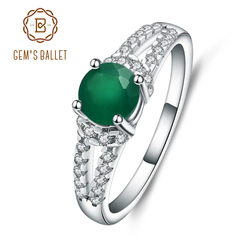GEM'S BALLET 925 Sterling Silver Green Agate Gemstone Rings Trendy Classic Engagement Fine Jewelry For Women Simple Design