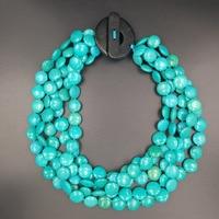 ЛИИ Ji Натуральный камень 16 мм краситель голубой цвет белый бирюзовый 5 рядов большой Джейд застежка Переключить Цепочки и ожерелья