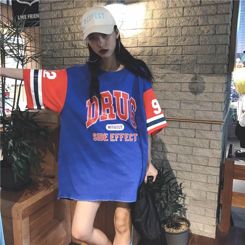 NiceMix Oversized Hip Hop T Shirt Femme Loose Long T-shirt Letter Printed Tee Camisas Mujer Harajuku Patchwork Baseball Shirt
