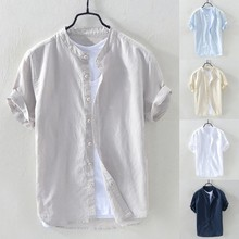 New Arrivals Slim Fit Male Shirt Men's Baggy Cotton Linen Solid Short Sleeve But