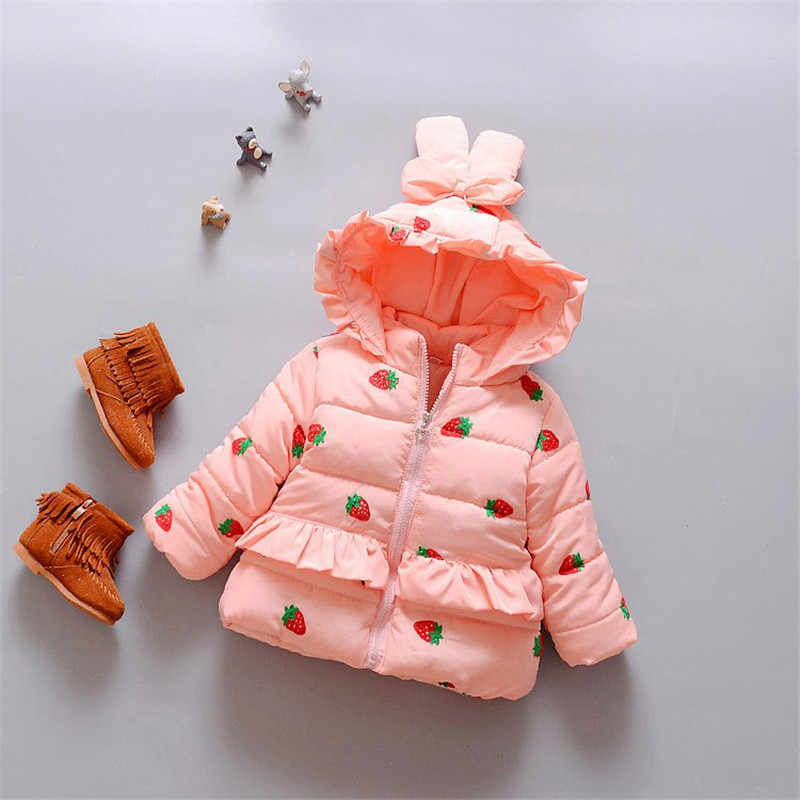 BibiCola Baby girls clothes  cotton-padded  kids winter jacket Strawberry outwear parka children's clothing girls winter coats