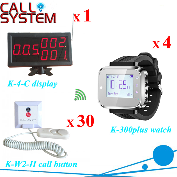 Hospital equipment Patient press button for service remote paging W 1 display 4 nurse watch 30 room buzzer wireless service call bell system popular in restaurant ce passed 433 92mhz full equipment watch pager 1 watch 7 call button