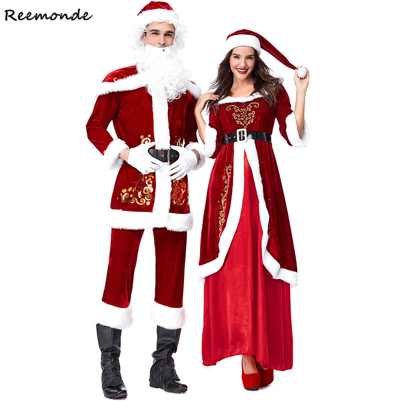 New Year Christmas Cosplay Costumes Santa Claus  Deluxe Velvet Red Jacket Dresses White Beard Wig For Adults Women Men Clothes