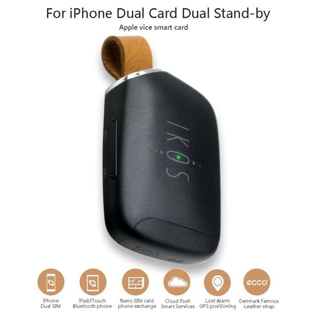 Adaptador dual sim bluetooth portátil para el iphone con dos tarjetas sim activas, soporte iphone/ipad/ipod
