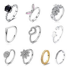 925 Sterling Silver Ring Charms Diy Rabbit Ears Pink Round Finger Ring Black Cz With Crystal Cz For Women 925 Party Jewelry Gift tjp lovely heart shaped open size women finger jewelry fashion 925 sterling silver ring for girl wedding party cz crystal stones
