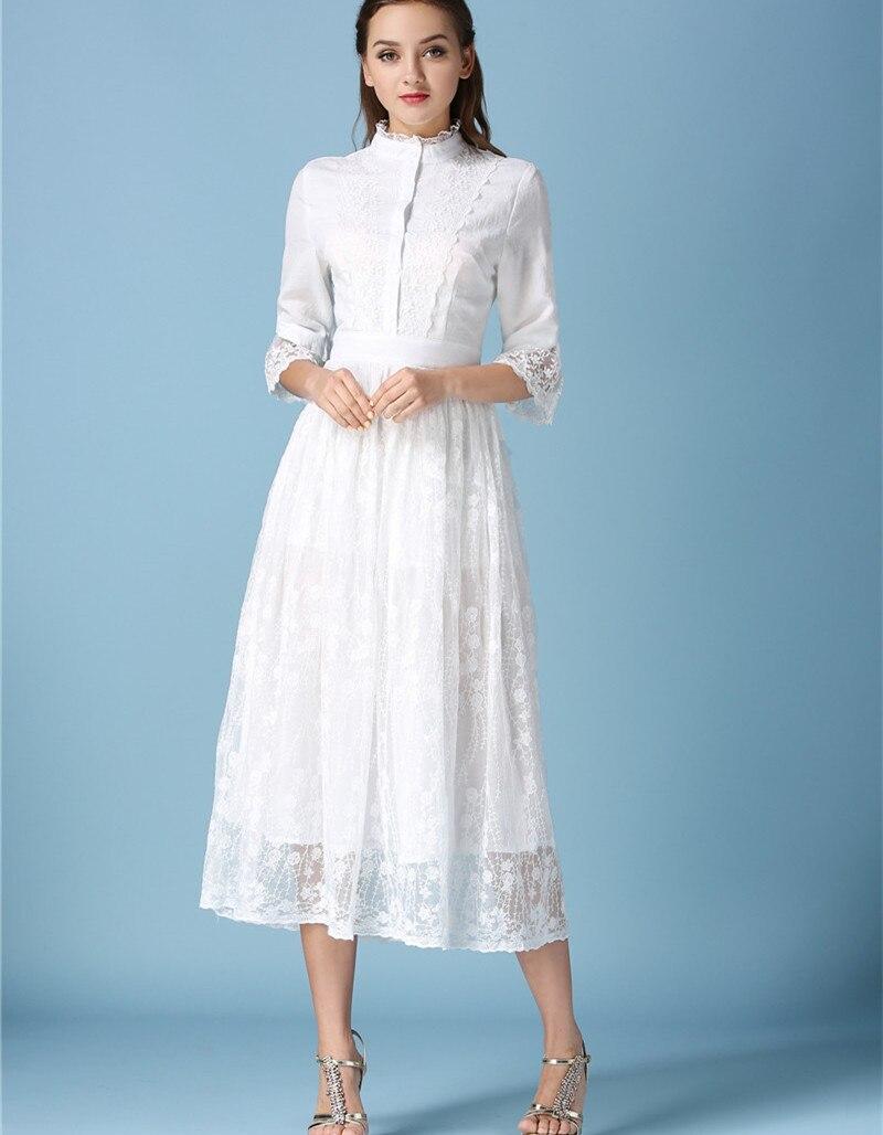 Lady Fairy Long White Lace Dress Vestido Longo 2018 Autumn Women ...