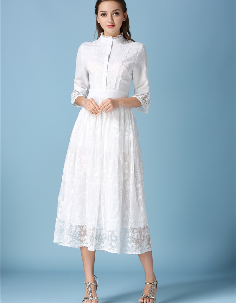 2018 Fashion Vintage New White Formal Dress Maxi For Women Party Gown Autumn Lace Long Dresses Robe Longue Femme Plus Size