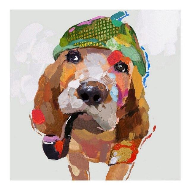 Moderne Handbemalte Tiere Lgemlde Fr Wohnzimmer Wandbilder Abstrakte Kunst Lustige Hund Gemlde Auf Leinwand