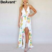 BeAvant Backless Cross V Neck Sexy Dress Women 2018 Boho Floral Print Long Dress Female Summer