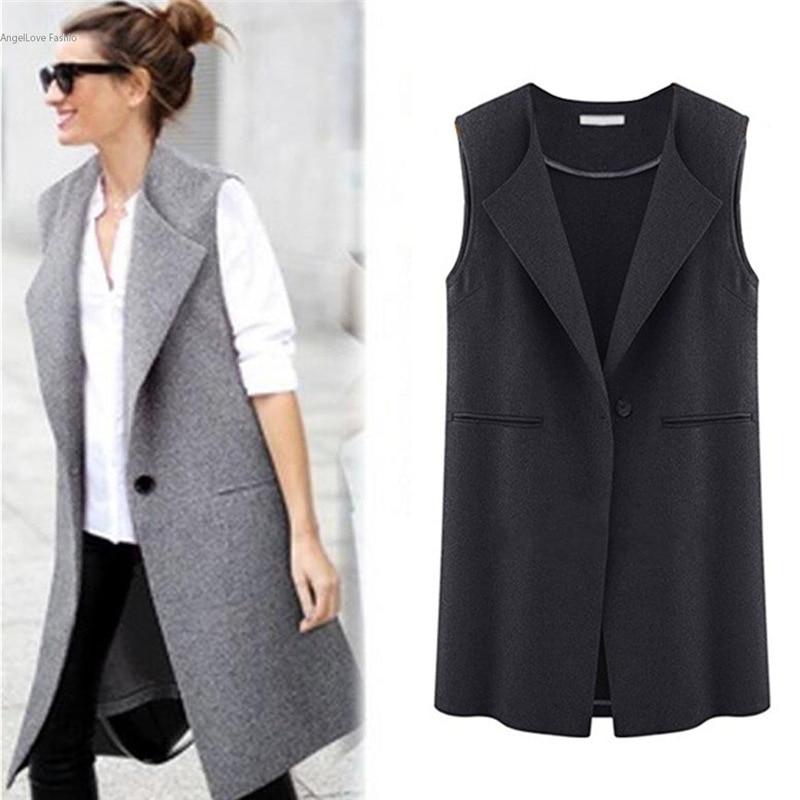 Women Autumn Spring Fashion Vest Lady Office Wear Long ...
