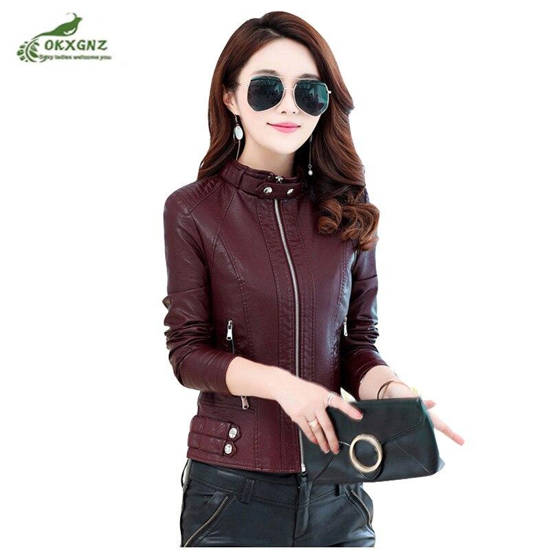 Spring autumn   leather   jacket female short motorcycle   leather   jacket fashion Slim collar winter new thin coat tide OKXGNZ AY29