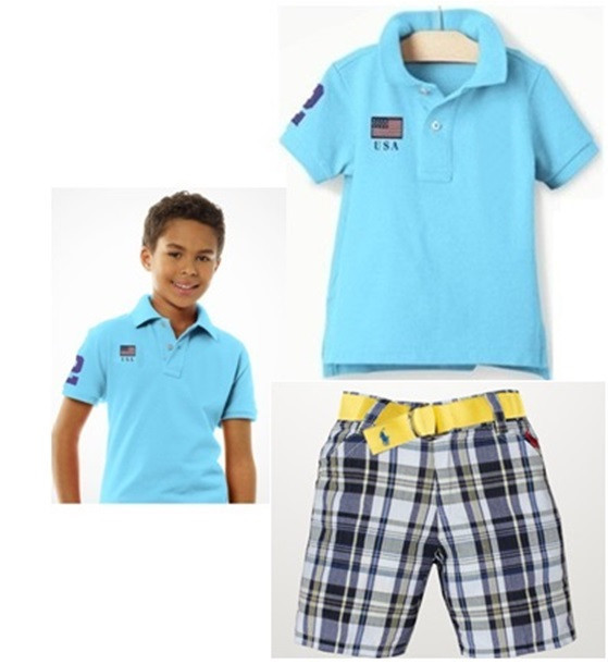 5c9d98eabe49 Hot Sale Summer baby boys brand POLO t shirt + plaid shorts set kids  fashion polo shirt pants sets Children polo sky blue top