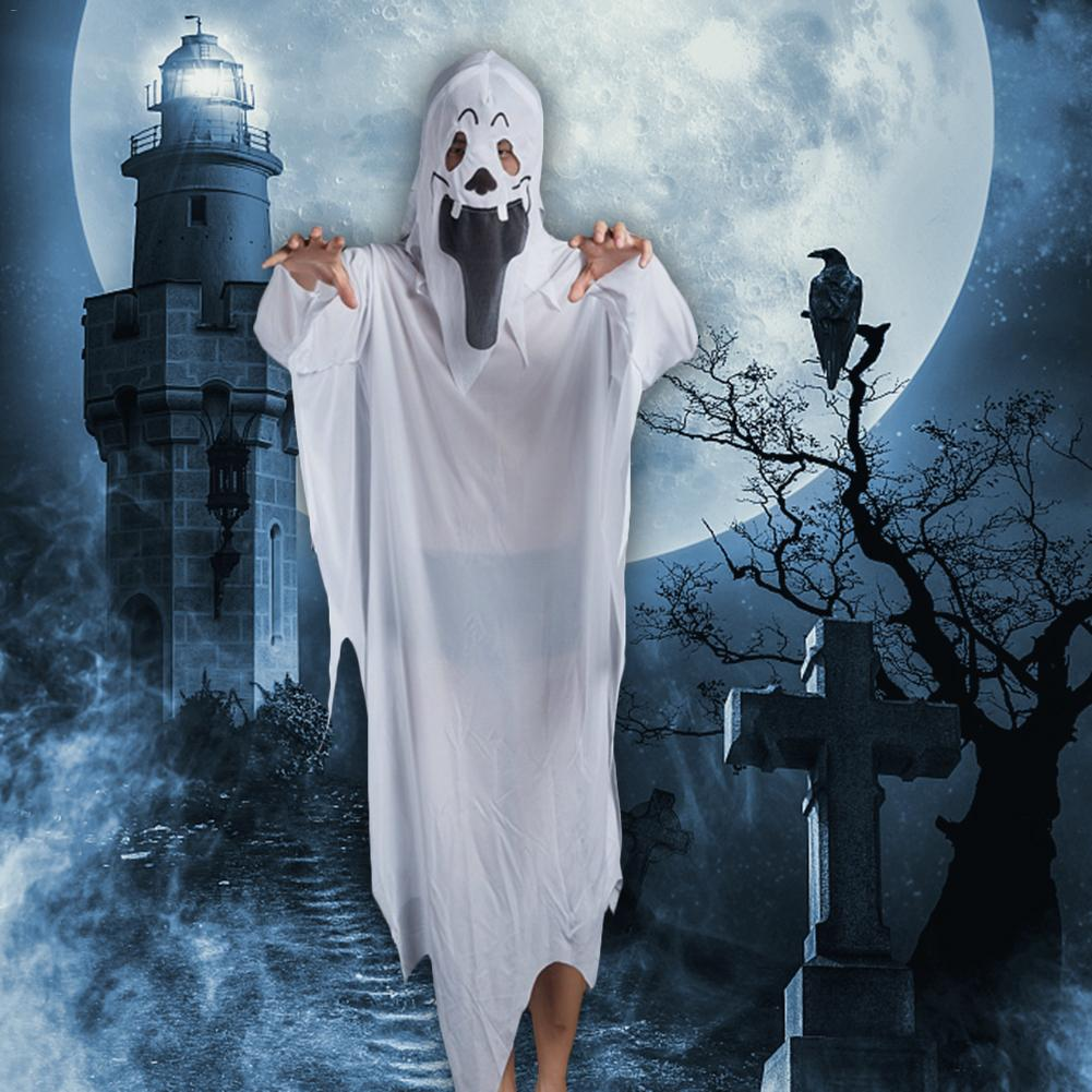 Adult Male Female Carnival Halloween Scary Costumes Halloween Ghost Cosplay Horror Style White Ghost Costume Rope For Men Women