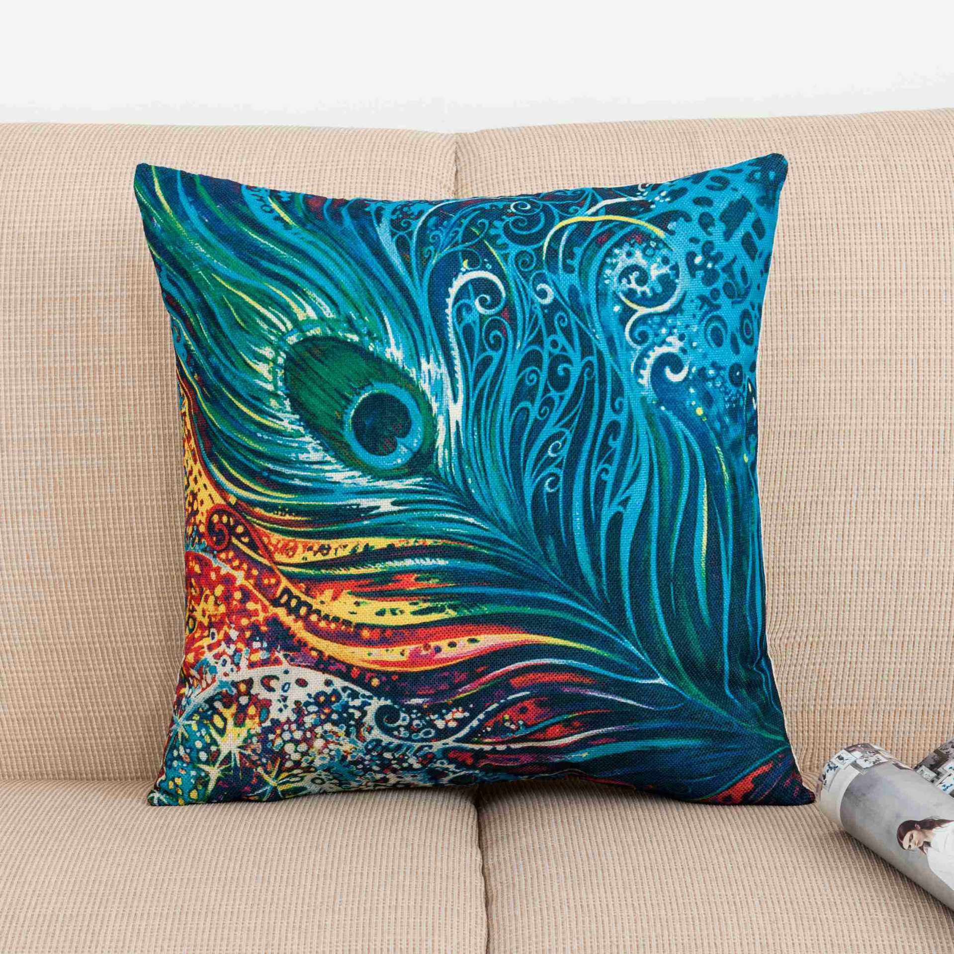 Peacock Tribal Seamless Feathers Girly Teal Print Custom Car Cushion Cover Decorative Throw Pillowcase Pillow Cases Home Decor