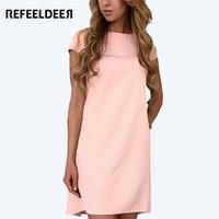 Refeeldeer Summer Dress Women 2017 Spring Mini Tunic Shirt Party T Shirt Dress Vintage Basic Pink
