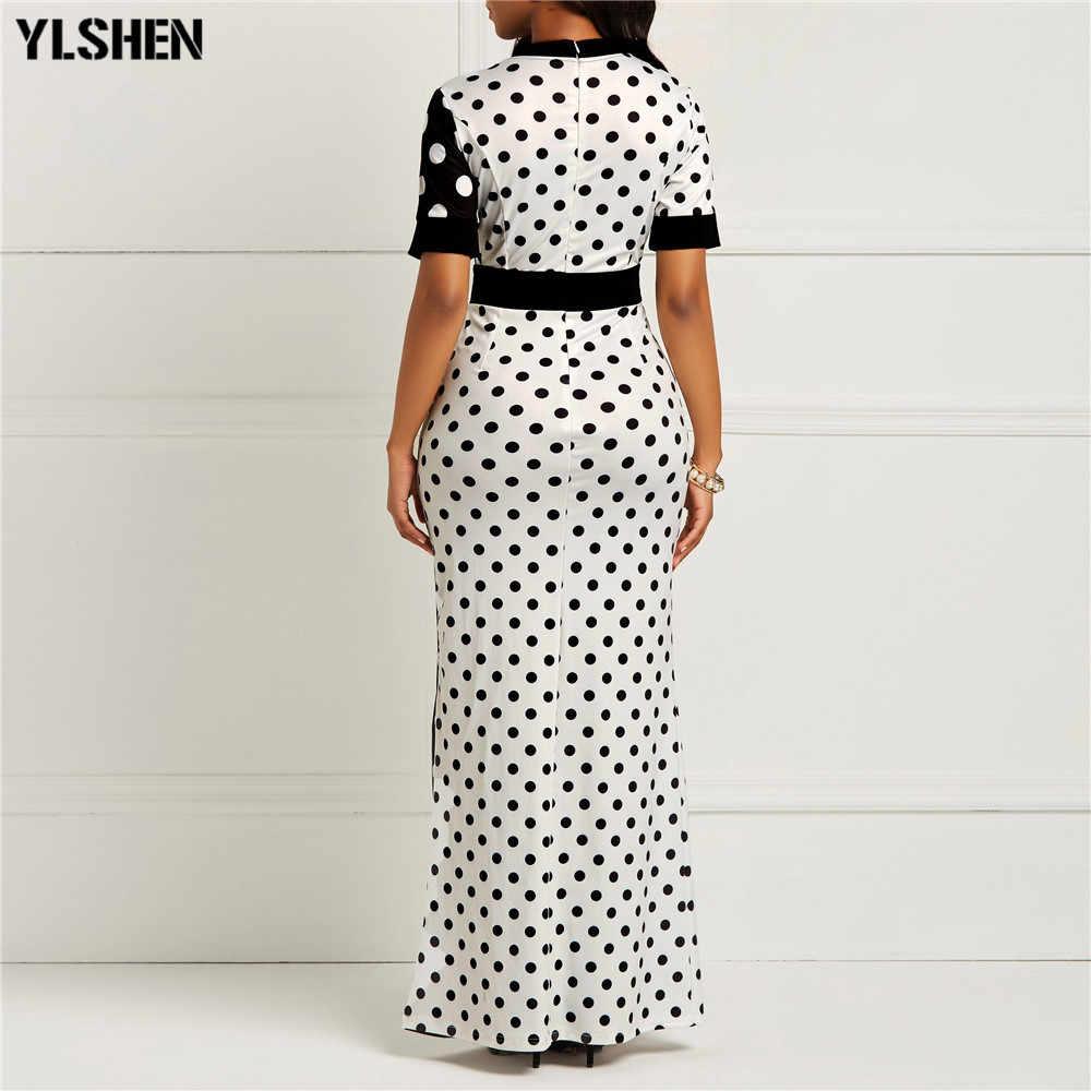 Африканские платья для женщин Дашики горошек африканская одежда плюс размер Лето Белый Черный Печатный Ретро Bodycon длинное платье Африка
