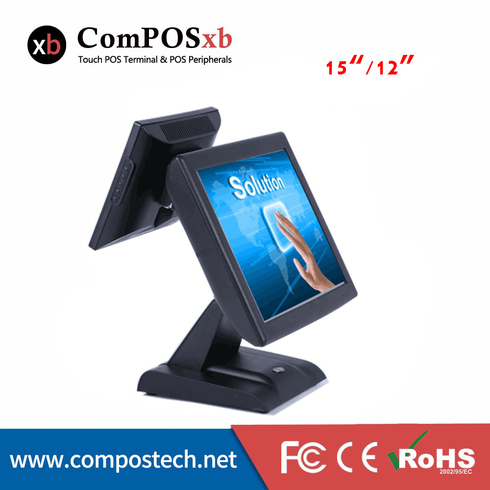 Dual screen 15''/12 '' Touch monitor double resistive screen pos Pos all in one Point of sale display for retail shop