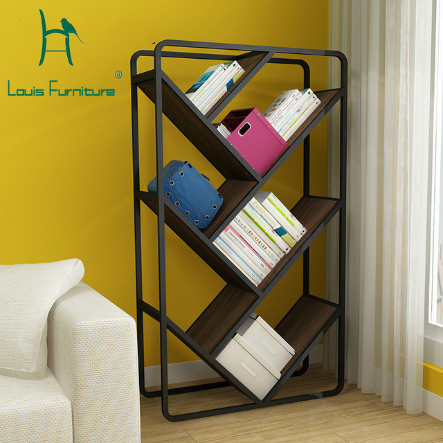 Louis Fashion Bookcases Nordic Bookshelf Creative Storage Rack Steel Wood Sundries Frame Embly