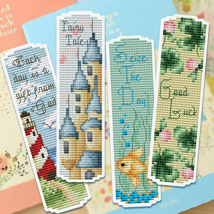 Craft Cross Stitch Bookmark Christmas Plastic Fabric Needlework 23 Styles