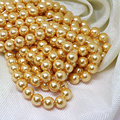 Golden yellow factory outlet imitation pearl shell round beads 4-14mm wholesale for women fashion jewelry making 15inch B1610