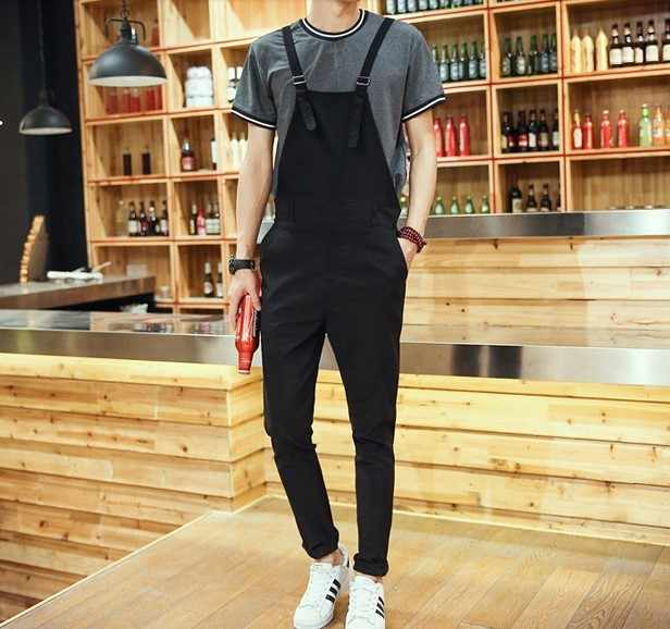 Mens Streetwear Black Jumpsuit For Men Fashion Skinny Overalls One Piece Jumpsuits Male Suspender Pants Trousers Salopette Homme