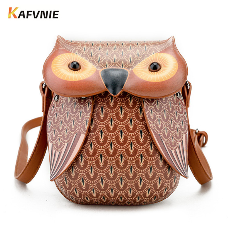 KAFVNIE New Cute Owl Shoulder Bag Purse Handbags Women Messenger Bags FOR Girls Cartoon with Crossbody Phone Bag Owl Bag