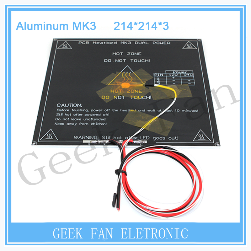 3D Printer Parts MK3 heatbed Dual Power Heated+LED+Resistor+Cable+100K ohm Thermistors PCB Heat bed 3d0354 updated high temperature 120 degree 220 220 3mm 3d printer aluminum mk3 pcb heatbed dual power heat bed alu hotbed