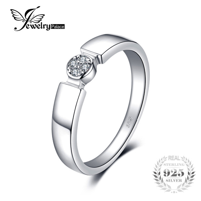 Jewelrypalace Four Stone Round Cubic Zirconia Wedding Band Ring For Women Pure 925 Sterling Silver Jewelry