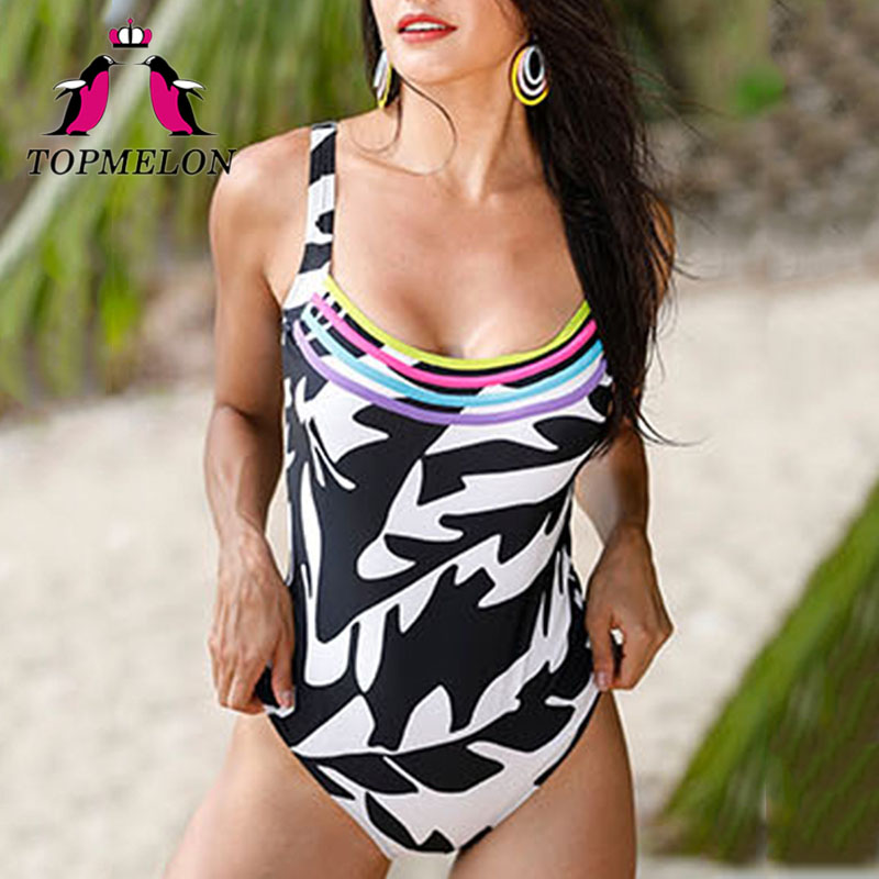 Topmelon One Piece Swimwear 2018 Women Black White Print Beachwear Bathing Suit Swimwear Bathingsuit Womens Push Up Swimsuit