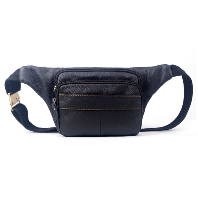 New Men Genuine Leather Cowhide Fashion Fanny Waist Pack Travel Crossbody Bag Sling Chest Bag Wallet