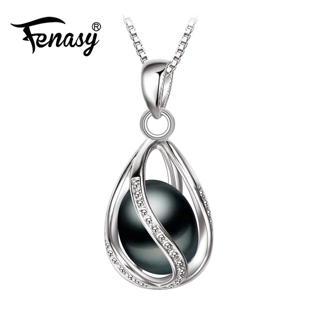 83525dbd51c837 FENASY Promotion Black Pearl Pendant trendy 2018 new pearl necklace &  pendant ,office career necklace for women pearl jewelry