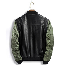 High Quality Leather Jacket Men New Brand Autumn Designer Fashion Stand Collar PU Motocycle Jackets Green Flying Pilot Coats 3XL