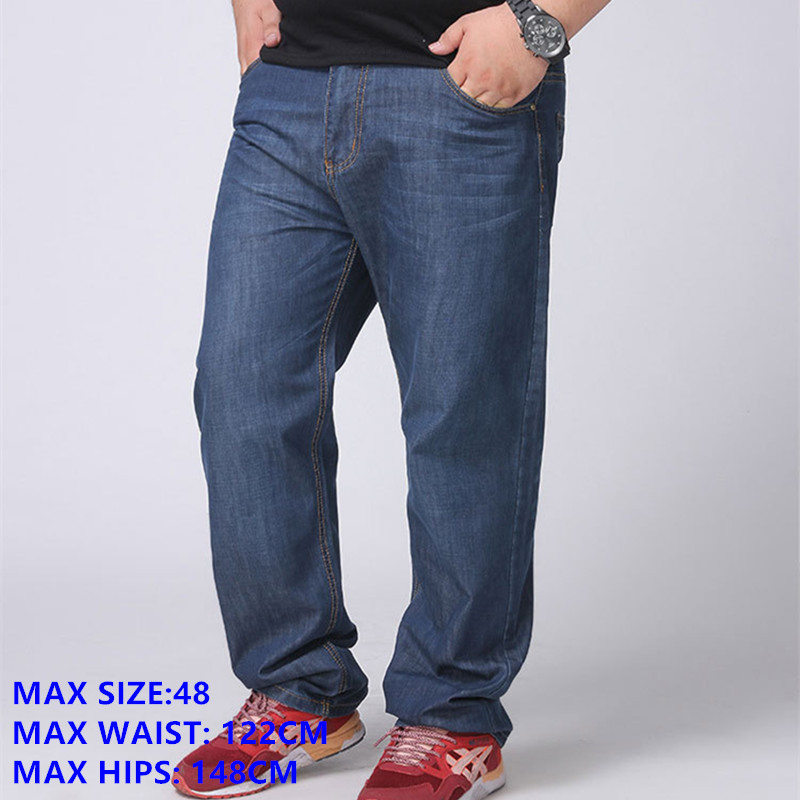 94c34514e0f Classic Plus Size Jeans Men 140KG Extra Large Size 48 Male Denim Trousers  Straight Loose Style