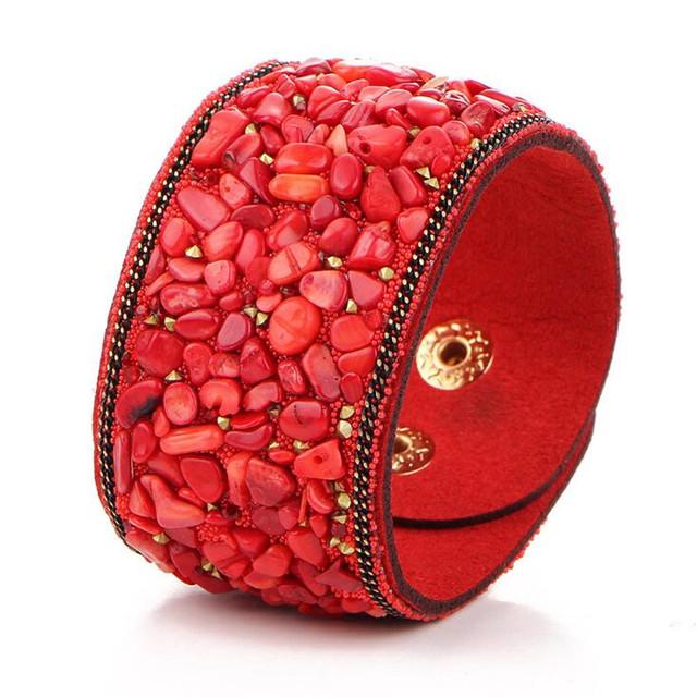 Fashion Stone Embellished Leather Bracelet