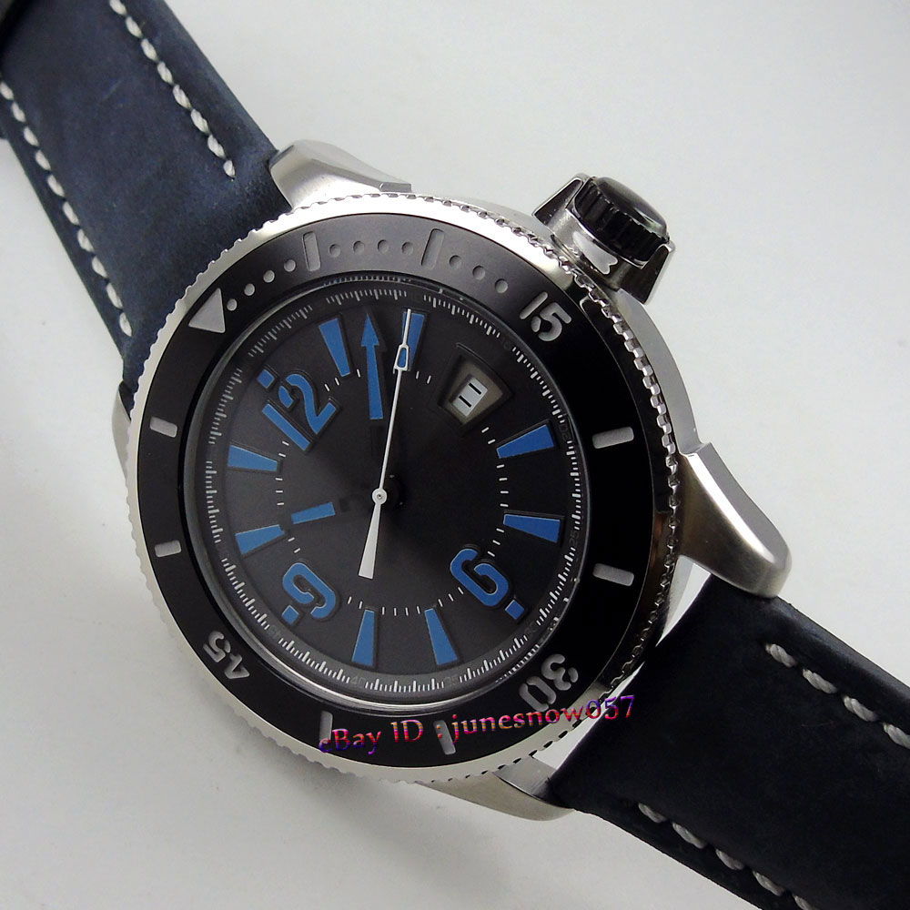 Здесь можно купить  BLIGER 43mm black dial blue marks luminous ceramic bezel black leather strap MIYOTA Automatic men