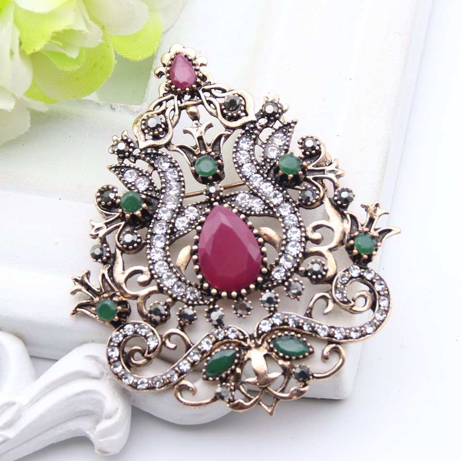 Ethnic Arabesque Flower Brooches Turkish Jewelry Women Retro Gold Color Water Drop Resin Rhinestone Broches Brooch Hijab Pin